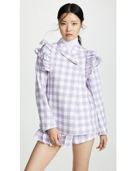 ShuShu/Tong Shoulder Ruffle Blazer - Purple