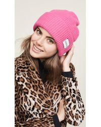 Ganni - Pink Knitted Logo Beanie - Lyst