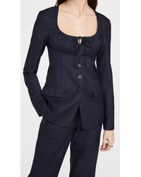 By Any Other Name Scoop Neck Tailored Blazer - Blue