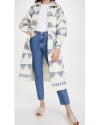Sea Gloucester Gingham Quilted Coat - Blue