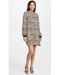 ATM Leopard Print Bishop Sleeve Mini Dress - Multicolor