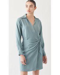 Vince Wrap Shirt Dress - Blue