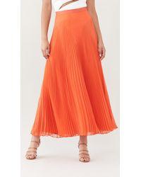 Brandon Maxwell Chiffon Pleated Skirt - Orange