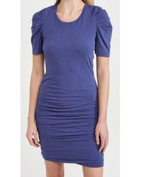 Sundry Puff Sleeve Ruched Dress - Blue
