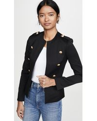 L'Agence Rye Military Jacket With Round Neck - Black