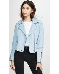 COACH Suede Ghost Biker Jacket - Blue