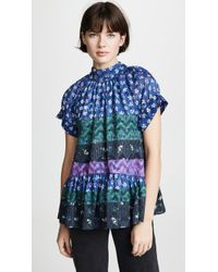 Opening Ceremony Floral Drop Ruffle Blouse - Blue