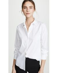 Theory Classic Long Sleeve Tenia Buttondown Blouse - White