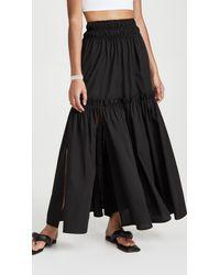 Rosetta Getty Split Ruffle Skirt - Black