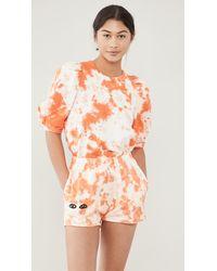 Clare V. Puff Sleeve Sweatshirt - Orange