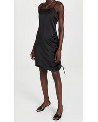 Endless Rose Ruched Cowl Neck Satin Dress - Black