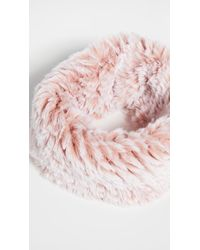 Jocelyn Snowtop Knitted Faux Fur Stretch Cowl Scarf - Pink
