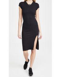 Monrow Supersoft Rib Cap Sleeve Dress - Black