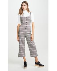 Cupcakes And Cashmere Willa Checked Button Front Cropped Jumpsuit - Black