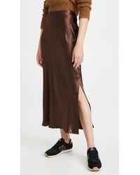 Vince Side Slit Slip Skirt - Brown