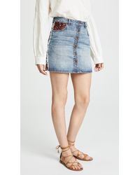 Scotch & Soda - Button Up Denim Miniskirt - Lyst