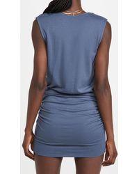 Monrow Tucked Shoulder V Neck Shirred Dress - Blue