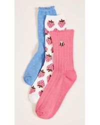 Kate Spade - 3 Pack Of Strawberry Crew Socks - Lyst