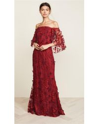 Marchesa notte - Off-the-shoulder Embroidered Appliquéd Tulle Gown Red Us10 - Lyst
