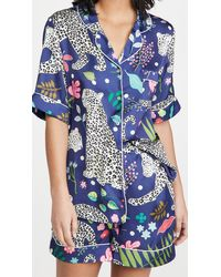 Karen Mabon Snow Leopard Short Pyjama Set - Blue