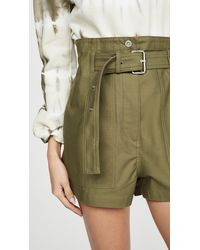 3.1 Phillip Lim Belted Cotton Cargo Shorts - Green
