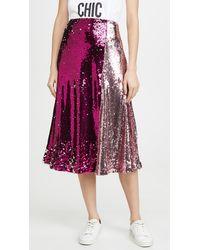 Endless Rose Colorblock Sequin Skirt - Pink
