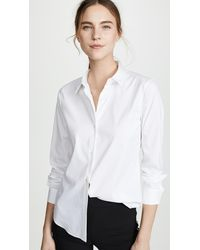 Theory Luxe Tenia Button Down Blouse - White