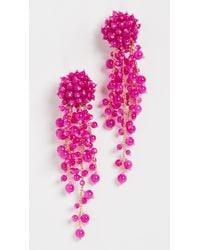 Oscar de la Renta Beaded C Earrings - Pink