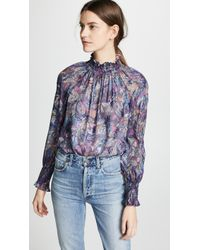 Rebecca Taylor - Long Sleeve Floral Top - Lyst