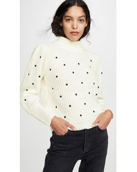 English Factory Ruffle Smocked Dot Embroidered Jumper - White
