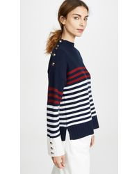 Autumn Cashmere Breton Stripe Mock Neck - Blue