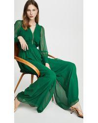 Costarellos Long Sleeve Silk Chiffon Jumpsuit With Tonal Belt - Green