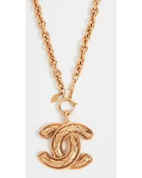 What Goes Around Comes Around Chanel Quilted Large Cc Necklace - Metallic