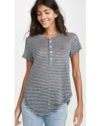 Wilt Stripe Linen Button Henley Tee - Blue
