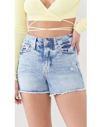 GOOD AMERICAN The Cutoff Long Fray Hem Shorts - Blue
