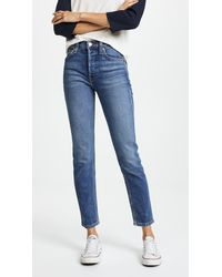 RE/DONE High Rise Ankle Crop Jeans - Blue
