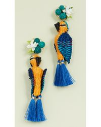 Mercedes Salazar Tropical Bird Earrings - Blue