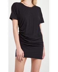 Sundry Side Shirred Dress - Black