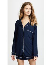 Eberjey Gisele Long Sleeve Pyjama Set - Blue