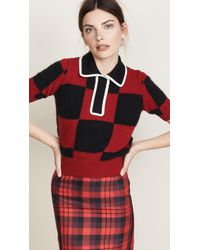 N°21 - Collared Check Sweater - Lyst