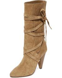 Veronica Beard Hall Heel Boots - Natural