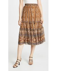 Ulla Johnson Thea Printed Fil Coupé Silk And Lurex-blend Midi Skirt - Brown