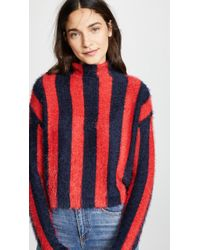 Blank NYC Striped Mock Neck Sweater - Red