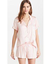 Splendid Short Sleeve Notch Collar Pj Set - Pink