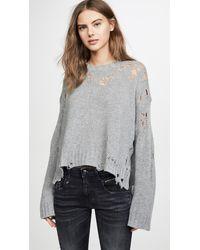 R13 Shredded Side Slit Sweater - Gray