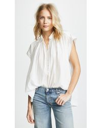 5af48b5ce8c Sundry Short Sleeve Blouse in White - Lyst