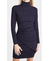 Susana Monaco Mock Neck Overlap Gathered Dress - Blue