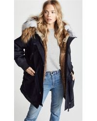 Army by Yves Salomon - Puffer Hooded Coat With Fur Trim - Lyst