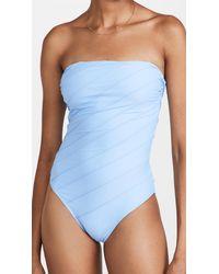 Shani Shemer Capri Stiched Bandeau One Piece Swimsuit - Blue