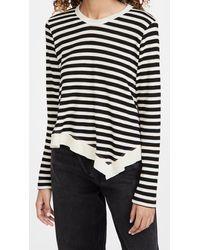 Wilt Slant Hem Stripe Thermal Top - Black